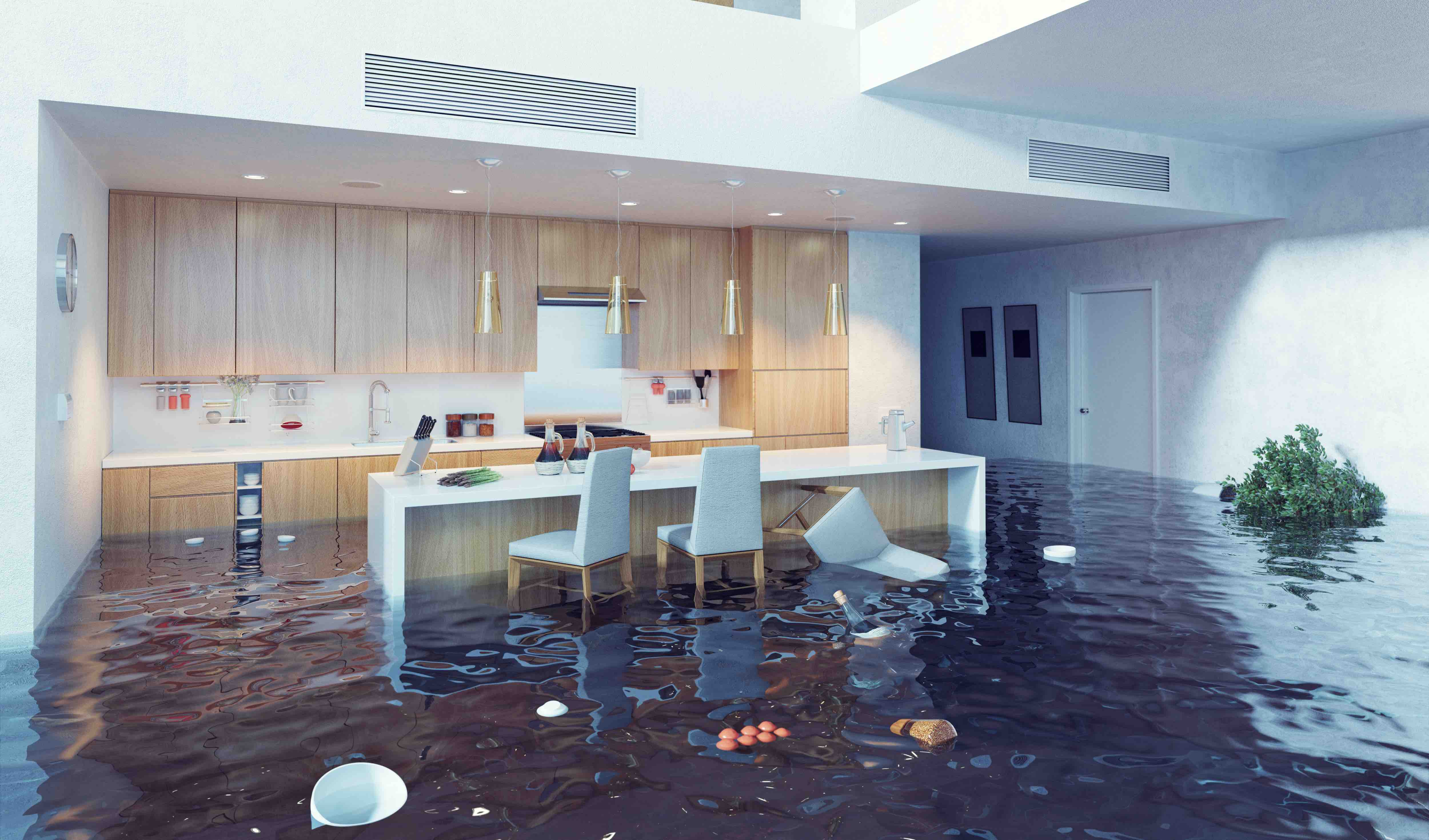 florida waterfront home with kitchen flooded